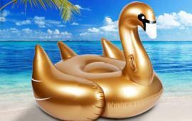 Gold Swan Pool Float